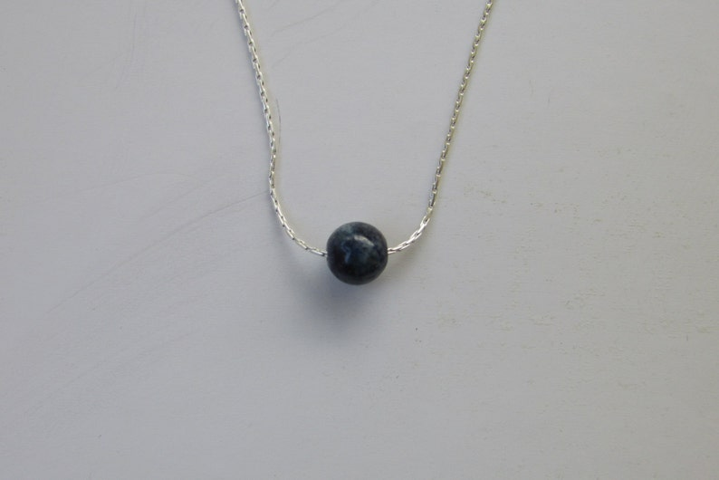Lapis Necklace Beaded Necklace Lapis lazuli Necklace Sterling Silver Minimalist Necklace with Lapis Gemstone Tiny Bead Necklace