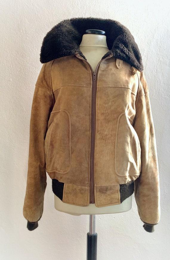 Men's 1980's Suede Jacket, Vintage Suede Bomber Ja