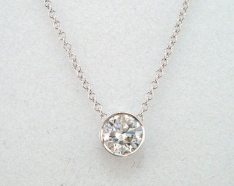 Diamond By The Yard Solitaire Pendant Necklace 0.35 Carat 14k White Gold Handmade Low Bezel Set