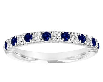 Alternating Sapphire and Diamond Wedding Band, Half Eternity Wedding Ring White Gold, Anniversary Ring, 0.50 Carat Certified Handmade