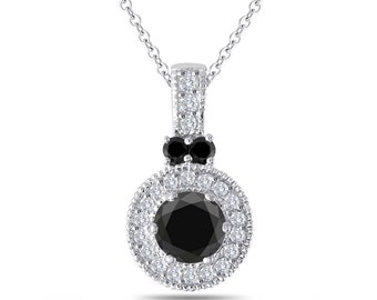 Black & White Diamond Pendant Necklace, Black Diamond Pendant, 14K White Gold 1.38 Carat Handmade