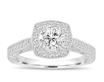 Hand Engraved Engagement Ring, GIA Certified Diamond Bridal Ring, Platinum Wedding Ring, 1.08 Carat Vintage Antique Style Halo Pave