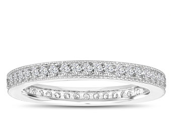 Diamond Eternity Ring, Eternity Diamonds Wedding Band, Womens Anniversary Ring, Stackable Ring 0.45 Carat 14k White Gold Pave Handmade