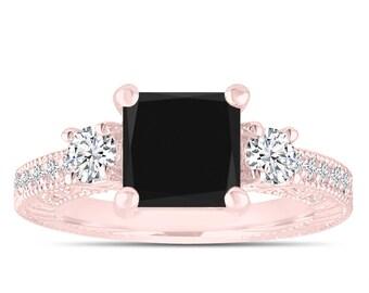Black Diamond Engagement Ring Rose Gold, Three Stone Bridal Ring, Princess Cut Vintage Ring, 2.28 Carat Antique Style Engraved Handmade