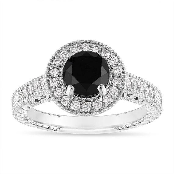 1 48 Carat Black Diamond Engagement Ring Vintage Wedding Etsy