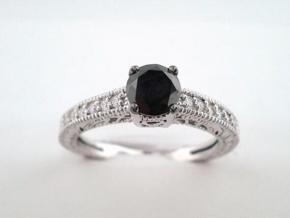 Fancy Black Diamond Engagement Ring 14k White Gold 0 65 Carat Etsy