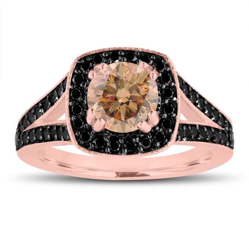 7e9df3752c5a9 Fancy Champagne Brown Diamond Engagement Ring 14K Rose Gold 1.56 Carat Halo  Pave Handmade Certified