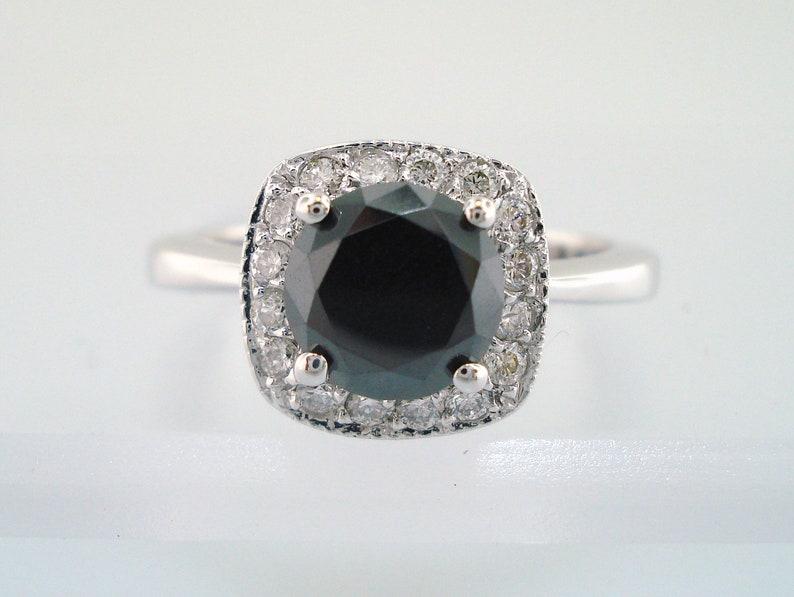 8ebd47925 Fancy Black Diamond Engagement Ring Halo Engagement Ring   Etsy