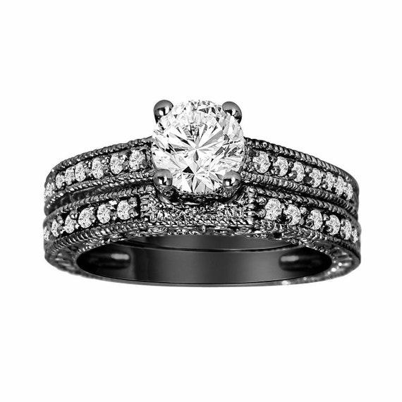 Diamond Engagement Ring Set Vintage Wedding Rings Sets Etsy