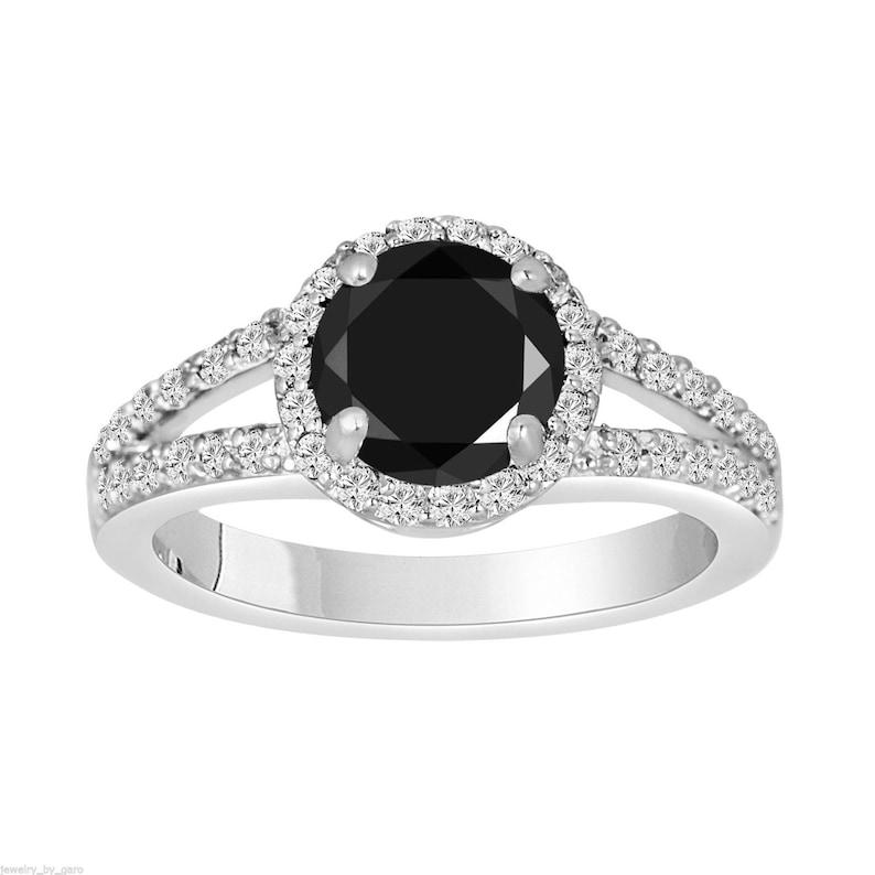 46d98d13a 1.94 Carat Fancy Black Diamond Engagement Ring Halo 14K White   Etsy