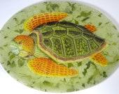 Victoria Fischetti Handmade Decoupage Turtle Glass Tray. Signed by artist.