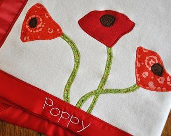 Custom Organic Baby Blanket-  Reserved  fr Elizabeth S - Organic Poppy Flower Blanket