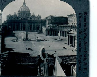 Stereoview St.Peters and the Vatican Rome Italy keystone