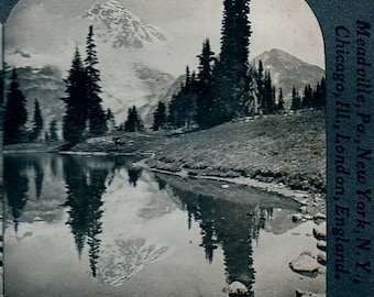 Stereoview Mount Rainier Reflected in Mirror Lake Washington