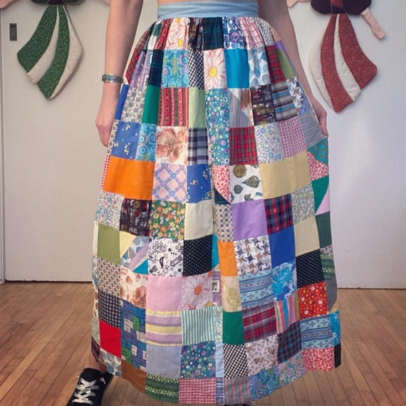 Vintage PATCHWORK HOMESPUN SKIRT 1960s 1970s Quil… - image 2