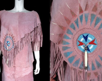 PATRICIA WOLF Suede Fringe Top Skirt Set Blouse Painted Southwestern 12 PINK