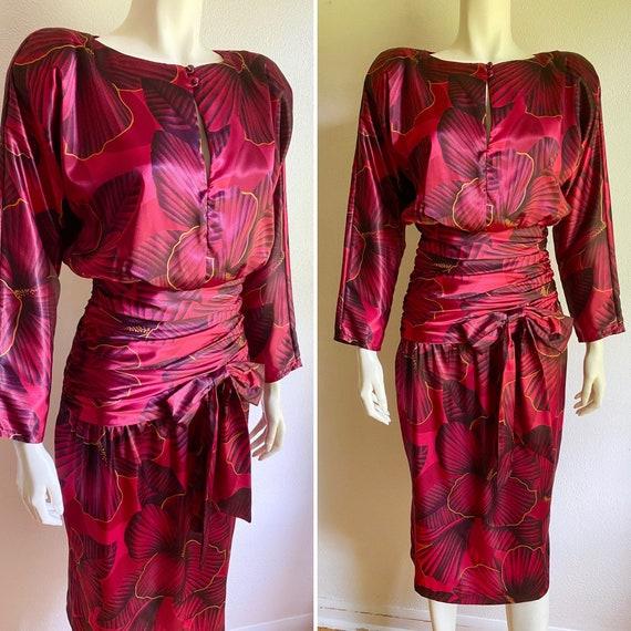 1940's meets 1980's Sarong Dress Hawaiian Wiggle T