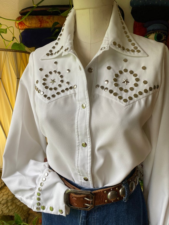 Vintage STuDDED STARS DOLLY SHIRT Parton White Las