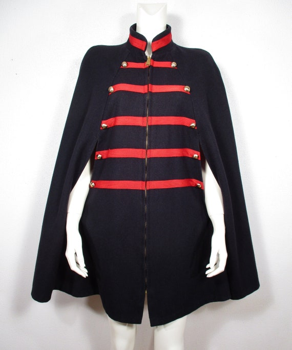 1960's MOD CAPE Vintage Navy Military Red Wool Coa