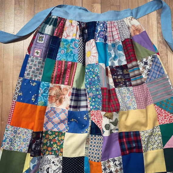 Vintage PATCHWORK HOMESPUN SKIRT 1960s 1970s Quil… - image 3