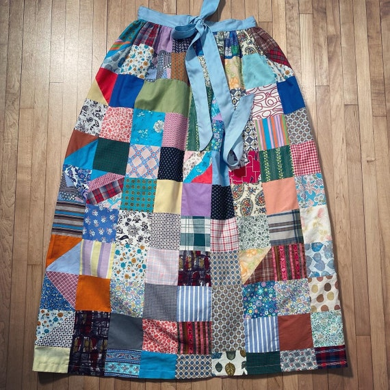 Vintage PATCHWORK HOMESPUN SKIRT 1960s 1970s Quil… - image 1