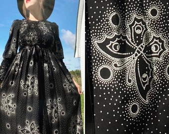 1970's YOUNG EDWARDIAN Butterfly Print Witch DRESS 70's Novelty Butterflies Xs/S
