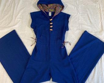 1970's HOODED JUMPSUIT Vintage Romper 70's Hood Retro Bell Bottoms Pant suit