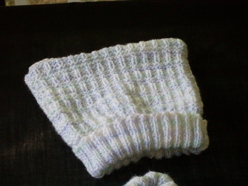 Hand knit boy/'s shawl collar pullover and hat