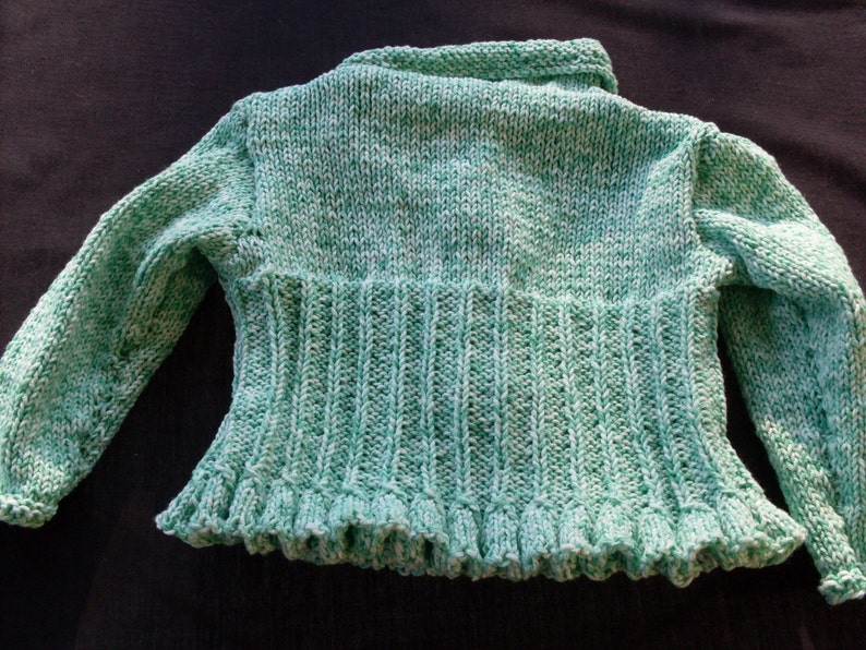 Hand knit girl apple green and white twist colored cardigan