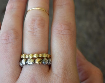 Sterling Silver and 14k Gold Pebble Ring