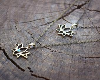Brass Lotus Necklace