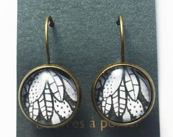 Black & White Leafs, Dangle Earrings, French Lever Back, Studs, Brass, Stainless steel, Loop earrings, Nature, Forest, Plants, Patterns