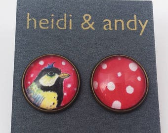 Bird, Polka dots, Red, White,  Black,  Blue, Yellow, Brass, Earrings, Stainless Steel, French Lever Back Hoop, Studs, Hypoallergenic