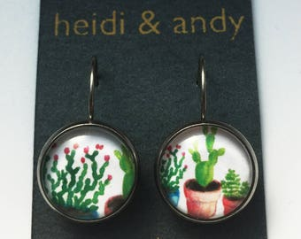 Succulents, Cactus,  Plants, Green, Stainless Steel, Brass, Dangle Earrings, French Lever Back Hoop, Studs, Hypoallergenic, Watercolor