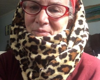 Large Fluffy Fleece Leopard Print Infinity Scarf