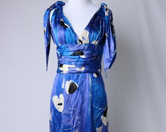 Vintage Kayane Paris Blue Metallic Gown with Black and White Floral Print and Tie Up Halter Style Bodice