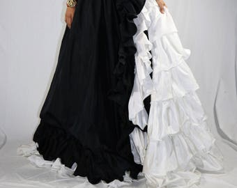 Vintage 80's Black and White Evening Gown with White Extreme Side Ruffles