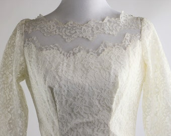 1950's White Lace and Tulle Wedding Dress
