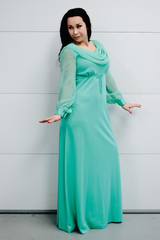 712f9a8c9d4 Vintage printemps vert déesse robe avec des manches en