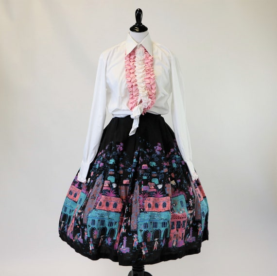Vintage 1950's Cotton Mexican Novelty Print Circl… - image 4