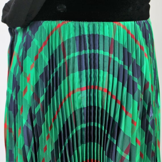 Vintage 1970's Green Plaid Pleated Maxi Skirt wit… - image 1