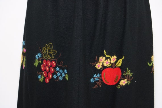 Vintage Balck Wool Maxi Skirt with Embroidered Fru