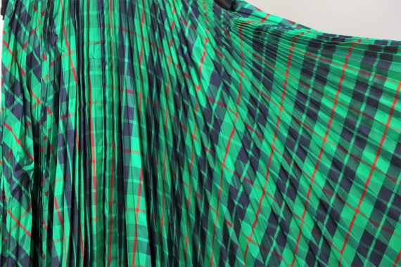Vintage 1970's Green Plaid Pleated Maxi Skirt wit… - image 7