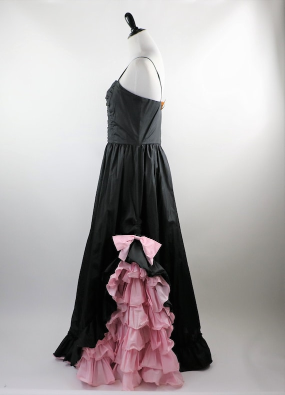 Vintage 1980's Black Gown with Pink Ruffle Details