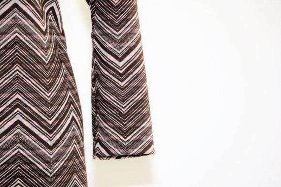 Vintage Knit Chevron Print Day Dress Brown Pink Wh