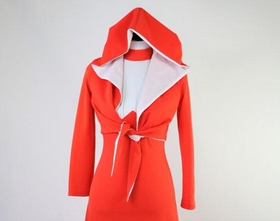 Vintage 1970's Maxi Dress with Hooded Jacket. 2 Pi