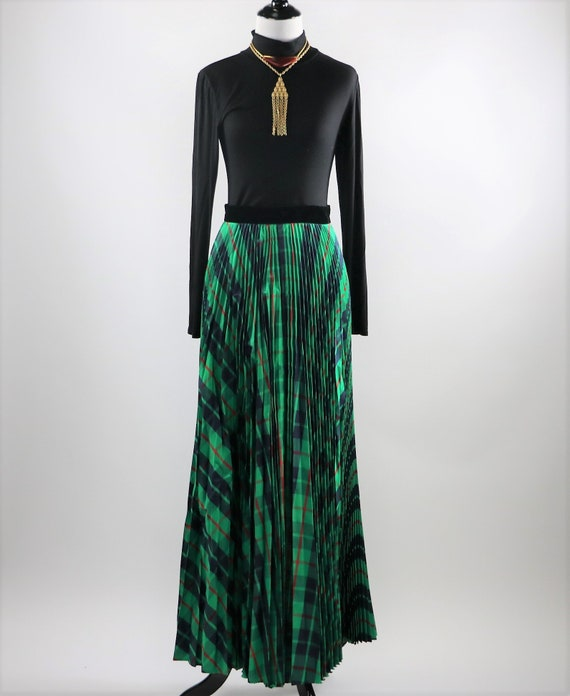 Vintage 1970's Green Plaid Pleated Maxi Skirt wit… - image 2