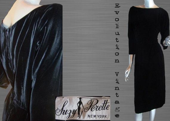 Vintage 1950's Suzy Perette Black Velvet Cocktail… - image 10