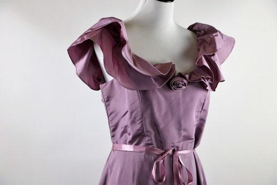Vintage 1970's Pastel Mauve / Lilac Purple Gown W… - image 9