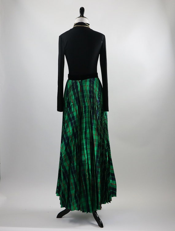 Vintage 1970's Green Plaid Pleated Maxi Skirt wit… - image 9